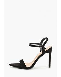 Черные замшевые босоножки на каблуке от Ideal Shoes