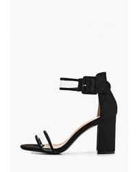 Черные замшевые босоножки на каблуке от La Bottine Souriante