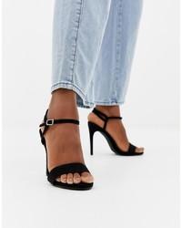 Черные замшевые босоножки на каблуке от New Look