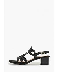 Черные замшевые босоножки на каблуке от T.Taccardi