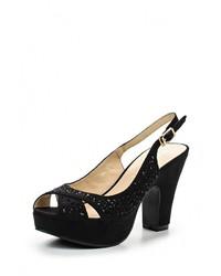 Женские черные замшевые босоножки на каблуке от Tulipano