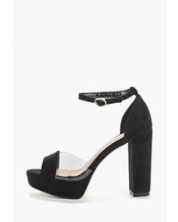Черные замшевые босоножки на каблуке от Zona3