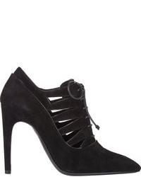 Черные замшевые ботильоны на шнуровке с вырезом