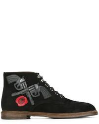 Черные замшевые ботинки броги