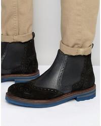 Мужские черные замшевые ботинки броги