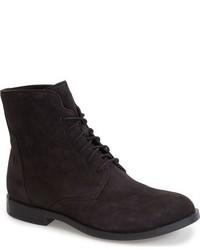 Черные замшевые ботинки на шнуровке