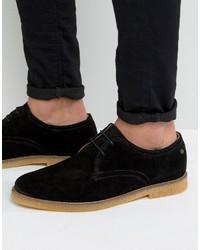 Черные замшевые туфли дерби от Base London