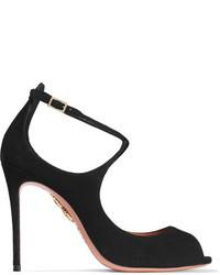 Черные замшевые туфли с вырезом от Aquazzura