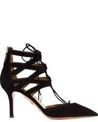 Женские черные замшевые туфли с вырезом от Aquazzura