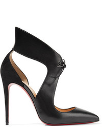 Черные замшевые туфли с вырезом от Christian Louboutin