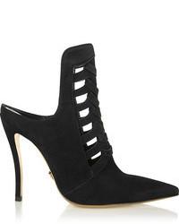 Черные замшевые туфли с вырезом от Versace
