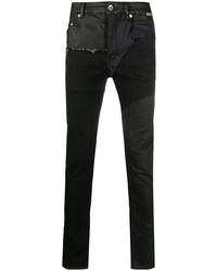 Мужские черные зауженные джинсы в стиле пэчворк от Rick Owens