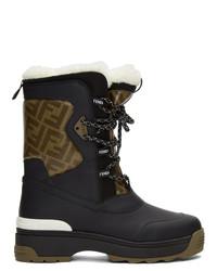 Женские черные зимние ботинки от Fendi