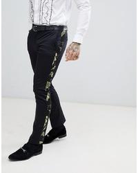 Черные классические брюки с принтом