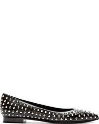 Черные кожаные балетки с шипами