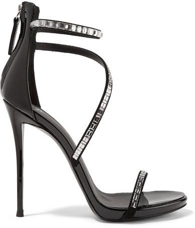 43fa2548c449 ... Черные кожаные босоножки на каблуке с украшением от Giuseppe Zanotti ...