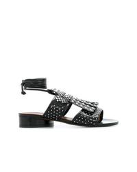 Женские черные кожаные босоножки на каблуке с шипами от Clergerie
