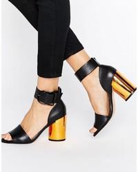 Черные кожаные босоножки на каблуке от Asos