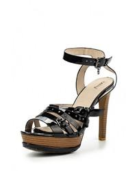 Черные кожаные босоножки на каблуке от Betsy