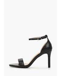 Черные кожаные босоножки на каблуке от Diamantique