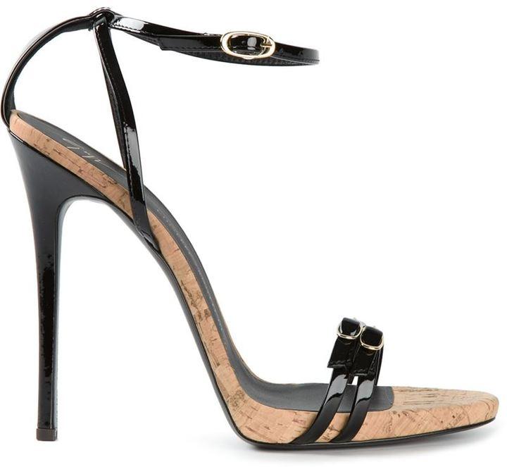 0eaff345aa62 Женские черные кожаные босоножки на каблуке от Giuseppe Zanotti ...