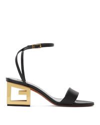 Черные кожаные босоножки на каблуке от Givenchy
