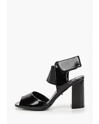 Черные кожаные босоножки на каблуке от Lino Marano