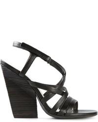 Черные кожаные босоножки на каблуке от Marsèll