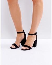 Черные кожаные босоножки на каблуке от New Look