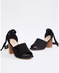 Черные кожаные босоножки на каблуке от Park Lane