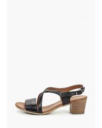 Черные кожаные босоножки на каблуке от Pierre Cardin