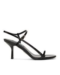Черные кожаные босоножки на каблуке от Prada