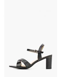 Черные кожаные босоножки на каблуке от Style Shoes