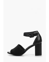 Черные кожаные босоножки на каблуке от Vera Blum