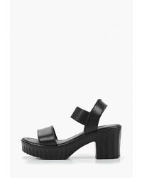 Черные кожаные босоножки на каблуке от Zenden Comfort