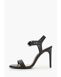 Черные кожаные босоножки на каблуке от Zign