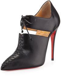 Черные кожаные ботильоны на шнуровке с вырезом