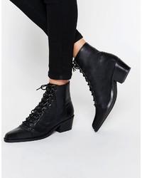 Женские черные кожаные ботильоны на шнуровке от Asos