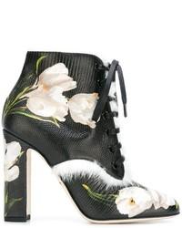 Женские черные кожаные ботильоны на шнуровке от Dolce & Gabbana