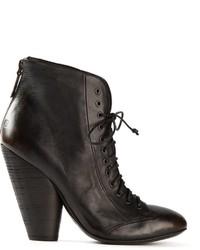 Женские черные кожаные ботильоны на шнуровке от Marsèll