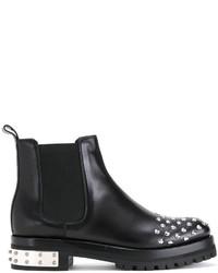 Женские черные кожаные ботильоны с шипами от Alexander McQueen