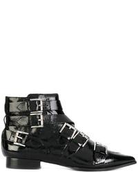 Женские черные кожаные ботильоны с шипами от Ash