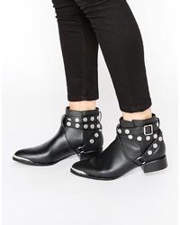 Женские черные кожаные ботильоны с шипами от Senso