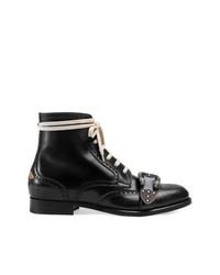 Черные кожаные ботинки броги от Gucci