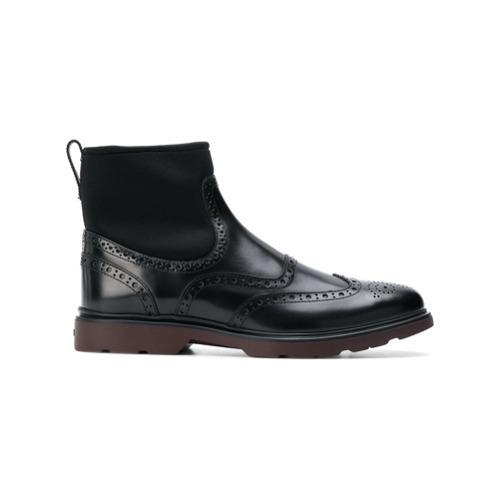 Черные кожаные ботинки броги от Hogan