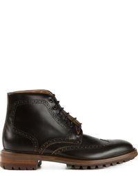 Черные кожаные ботинки броги от Paul Smith