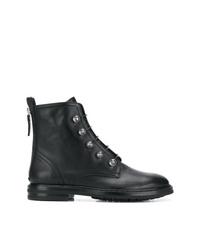 Женские черные кожаные ботинки на шнуровке с украшением от AGL