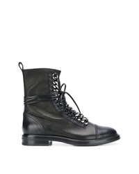 Женские черные кожаные ботинки на шнуровке с украшением от Casadei
