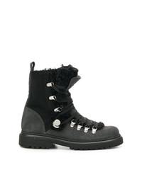 Женские черные кожаные ботинки на шнуровке с украшением от Moncler