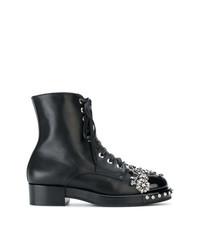 Женские черные кожаные ботинки на шнуровке с украшением от N°21